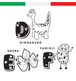 italian alphabet dinosaur ivy beans vector image vector image