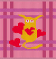 knitted woolen pattern of valentines day vector image vector image
