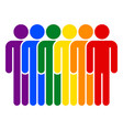 lgbt movement rainbow flag six men vector image