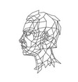 low poly a mans head in profile outline vector image vector image