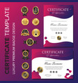 modern purple certificate background template vector image