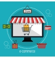 monitor store e-commerce isolated design vector image vector image