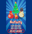 nativity concept banner comics isometric style vector image vector image