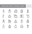 perfume bottles line icons vector image vector image