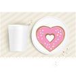 Pink heart shaped doughnut vector image vector image