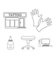 protective gloves salon chair ink tattoo set vector image