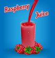 raspberry juice ad with splash isolated on blue vector image