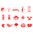 red chinese new year icons set vector image vector image