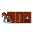 rocking horse boat trumpet kid toys vector image