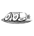 salami sausage icon vector image vector image