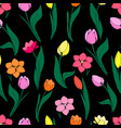 seamless floral pattern with tulips on black vector image