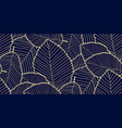 seamless leafs pattern dark blue and gold vector image vector image