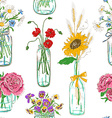 seamless pattern mason jars with flowers vector image