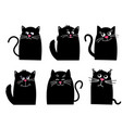set black cat funny kawaii animal pets vector image