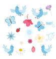 set of birds flowers and butterflies vector image