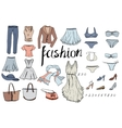 Set of evening woman clothes Objects on white vector image vector image