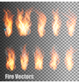 Set of transparent flame vector image