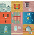 Set of vintage windows and air-conditioners on the vector image vector image