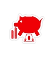 stylish sticker on paper piggy bank and money vector image vector image