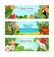 Tropical island flowers horizontal banners set vector image vector image