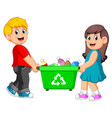 two children carry on recycle bin vector image vector image