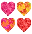 Valentine hearts with butterflies pattern vector image