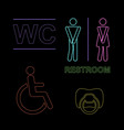 wc neon set with malefimal vector image vector image