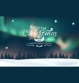 winter landscape with aurora and forest vector image vector image