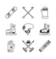 winter sports icons vector image vector image