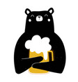 with happy black bear and glass yellow beer
