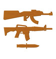 wooden gun kids set board weapons and knife vector image vector image