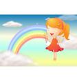 An angle girl and a rainbow vector image