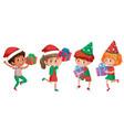 a set of christmas kids vector image