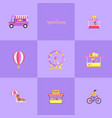 amusement park set icons vector image vector image