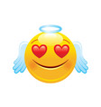 angel with hearts emoji icon 3d face smile for vector image