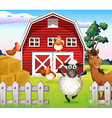 Animals at the farm with a barnhouse vector image vector image