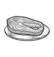atlantic salmon fish steak sketch vector image