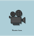 camcorder black and gray color on a blue vector image vector image
