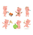 cartoon funny pigs in action poses vector image vector image