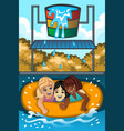 children playing in a waterpark vector image vector image