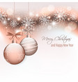 christmas card with hanging baubles and vector image vector image