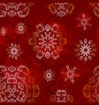 christmas seamless pattern with snowflakes in red vector image