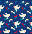 christmas vintage dove xmas seamless pattern vector image