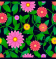 colorful flowers and leaves pattern seamless vector image vector image