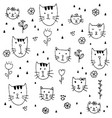 cute little kittens hand drawn pattern background vector image vector image