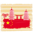 Decorative Chinese landscape card with buildings vector image