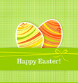 Easter eggs on green seamless linen background vector image vector image