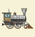Engraved vintage hand drawn old locomotive or