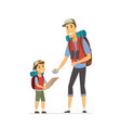 father and son go camping - cartoon people vector image vector image