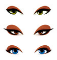 female eyes in different emotion with blue brown vector image